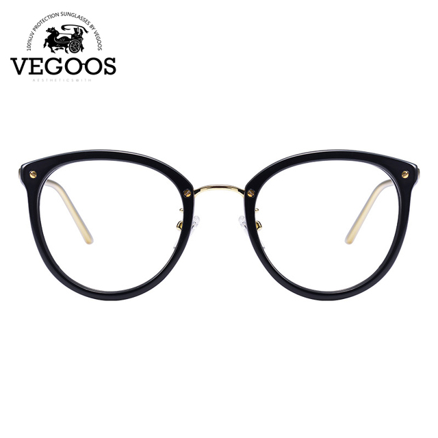 c46a4f4b6fe VEGOOS Designer Brand Men Women Glasses Acetate+Stainless Steel frame new design  round cat