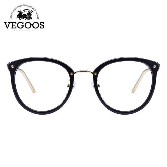 VEGOOS Diseñador de la Marca de Los Hombres/Mujeres Gafas de Acetato + marco de Acero Inoxidable nuevo diseño de lentes de prescripción marco redondo del ojo de gato #5082