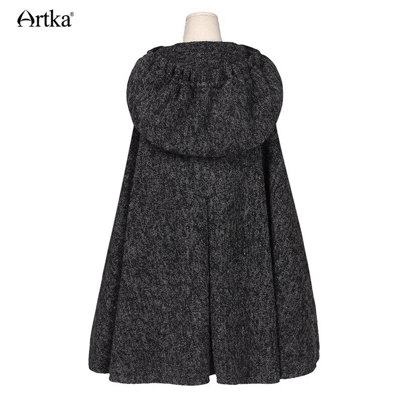 ARTKA de invierno de las mujeres nuevo Vintage lana cálida Sudadera con capucha capa abrigo bordado de la gota-hombro manga Cabo de lana prendas de vestir exteriores WA10220D - 4
