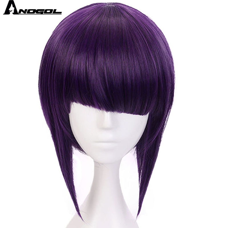Anogol My Hero Academy Short Straight Kyoka Jiro Anime Short Straight Bob Purple Synthetic Cosplay Wig For Role Play Halloween