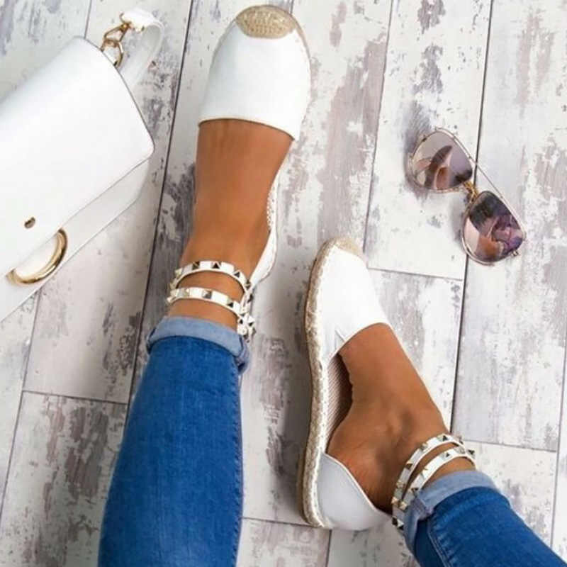 Zapatos de remache de verano para mujer, zapatos de paja, sandalias casuales transpirables para mujer, talla grande 40-43, Sandalias planas para mujer
