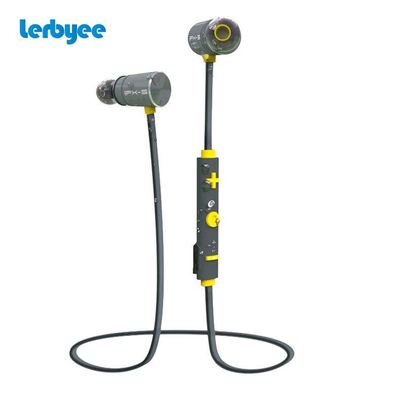 Lerbyee Sport Bluetooth Earphone IPX5 Waterproof Magnetic Earpiece Wireless Headset Dual Battery Portable for Mobile Phone