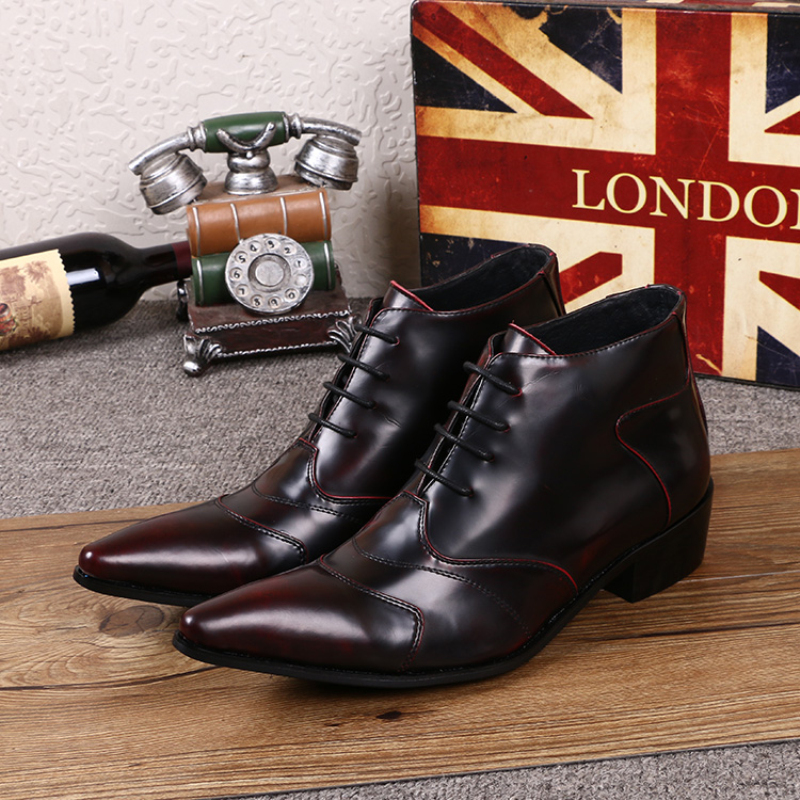 British Style Men Genuine Leather Lace-ups Ankle Boots Fashion Italian Formal Wedding Dress Shoes Winter Cowboy Boots Plus Size