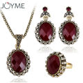Joyme Flower Tribal Ethnic Pendant Necklace Ring And Earring Vintage Set Turkish Jewelry Sets For Women Costume Wedding