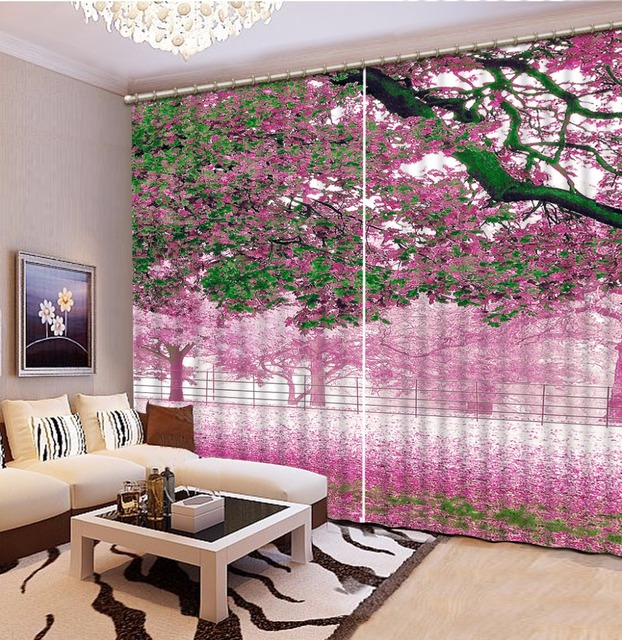 Romantic Blackout 3D Curtains Window Sheer Curtain For Living Room ...