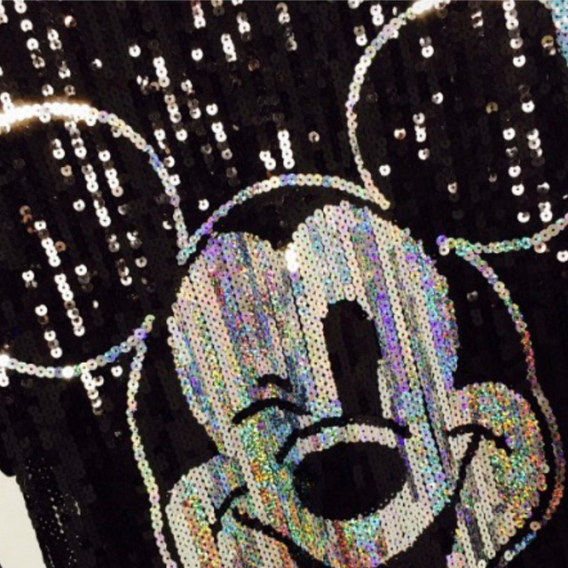 Chic Woman Cartoon Mickey sequins loose Oversized Long T-shirt Hiphop Numbers Short sleeved splicing Sequined Tops Streetwear 5