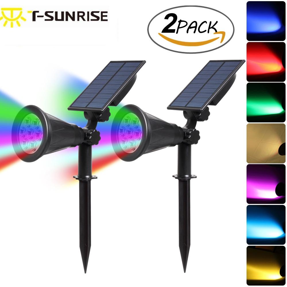 T SUNRISE 2PACK 7 LED Solar Spotlights Changing Color Outdoor Waterproof Landscape Light Waterproof Security Garden