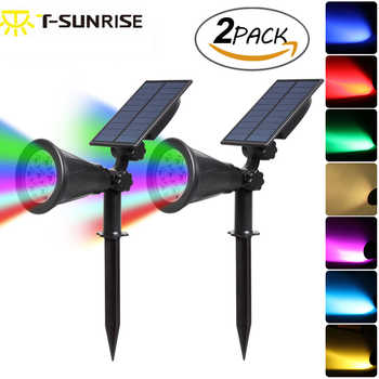 T-SUNRISE 2PACK 7 LED Solar Spotlights Changing Color Outdoor Waterproof Landscape Light Waterproof Security Garden Solar Lights - DISCOUNT ITEM  39% OFF All Category