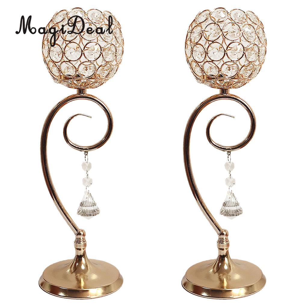 2pcs Gold Crystal Candle Holders Coffee Table Decorative Centerpiece Candlesticks for Wedding Party Dining Table Decorations