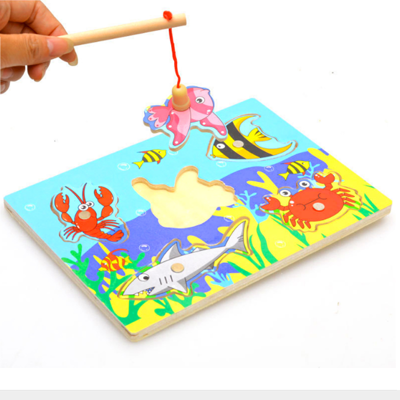 Magnetic Puzzle Toys New Wood 3d Puzzle Kids Educational Fishing Wood Fun Game Toys For Children Baby Kids Gifts Magnet Fishing