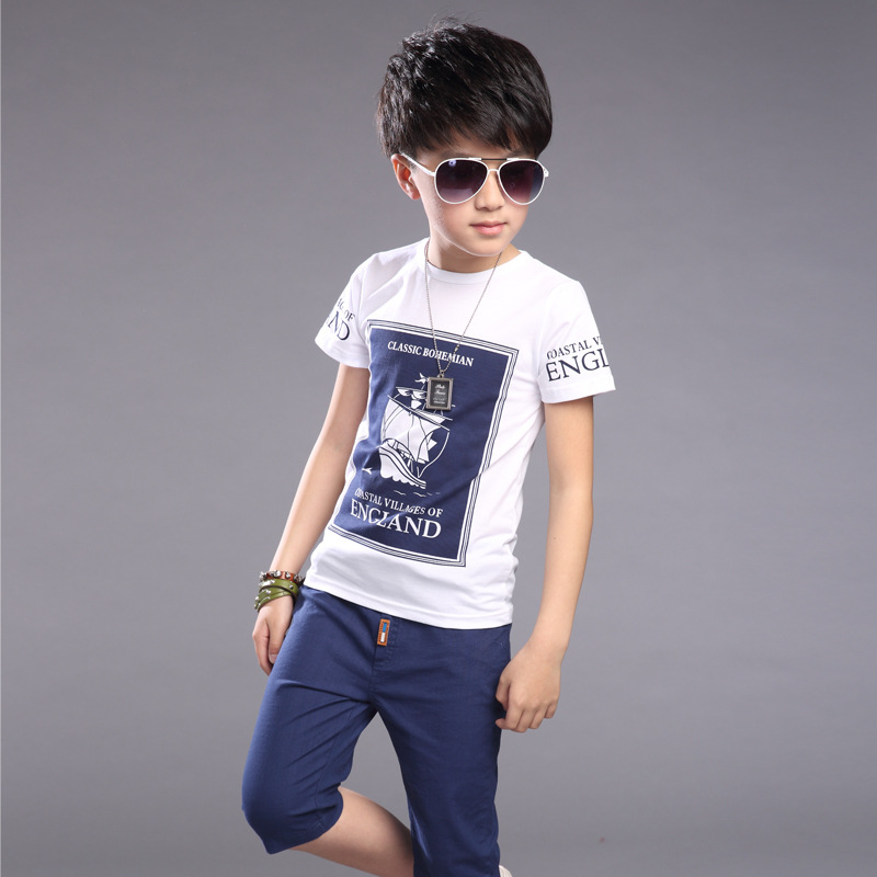Kids Boys Summer T-shirt Sets Children's short sleeves T-shirts + Pants 6 7 8 9 10 11 Year Olds sun moon kids boys t shirt summer