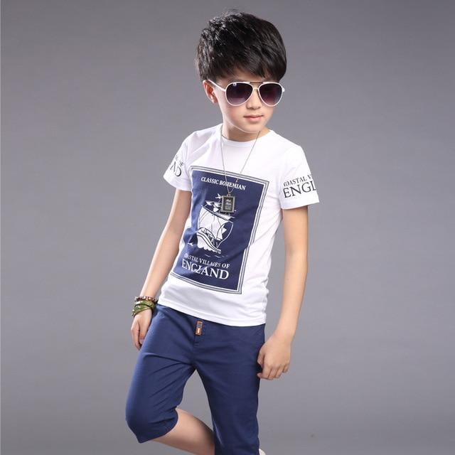 ecac437621a6 Kids Boys Summer T shirt Sets Children s short sleeves T shirts + ...