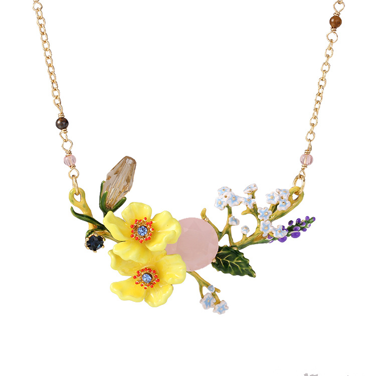 Enamel Necklace Yellow Flower Shape Jewerly Handmade Glazed Chian Spring & Summer Flower Symphony Series Lavender Necklace L957
