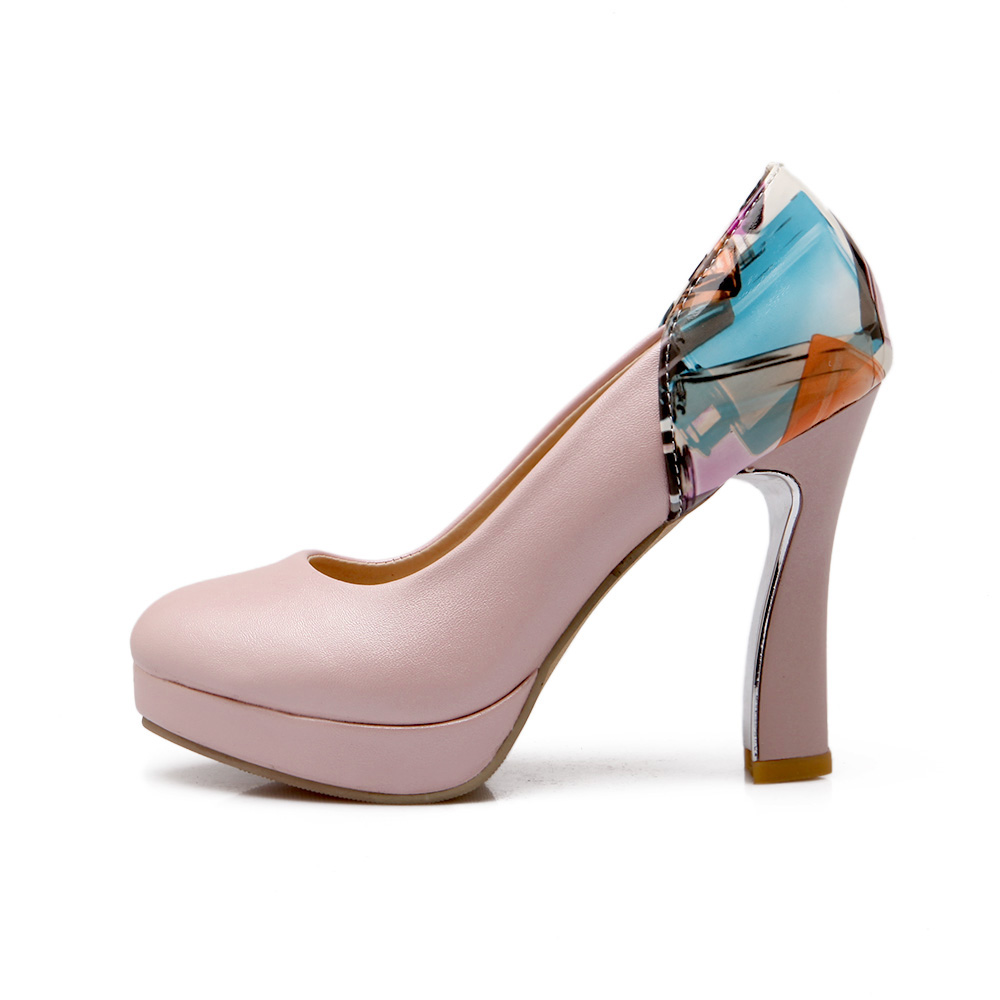 ФОТО Autumn high thick heel round toe single shoes small  31 32 33 plus size 40 41 42 43 women's shoes free shipping