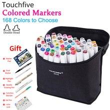 Touchfive צבעים אלכוהול סמני סקיצה מרקר עט סט כפול טיפ צביעת ציור עבור אנימה פנים קומיקס אמנות אספקת Colori
