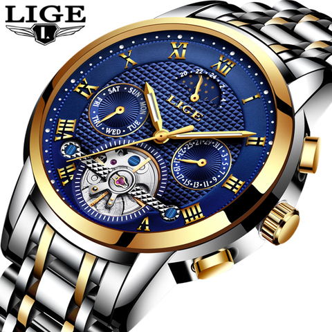 LIGE Top Brand Luxury Mens Watches Automatic Mechanical Watch Men Full Steel Business Waterproof Sport Watches Relogio Masculino Pakistan