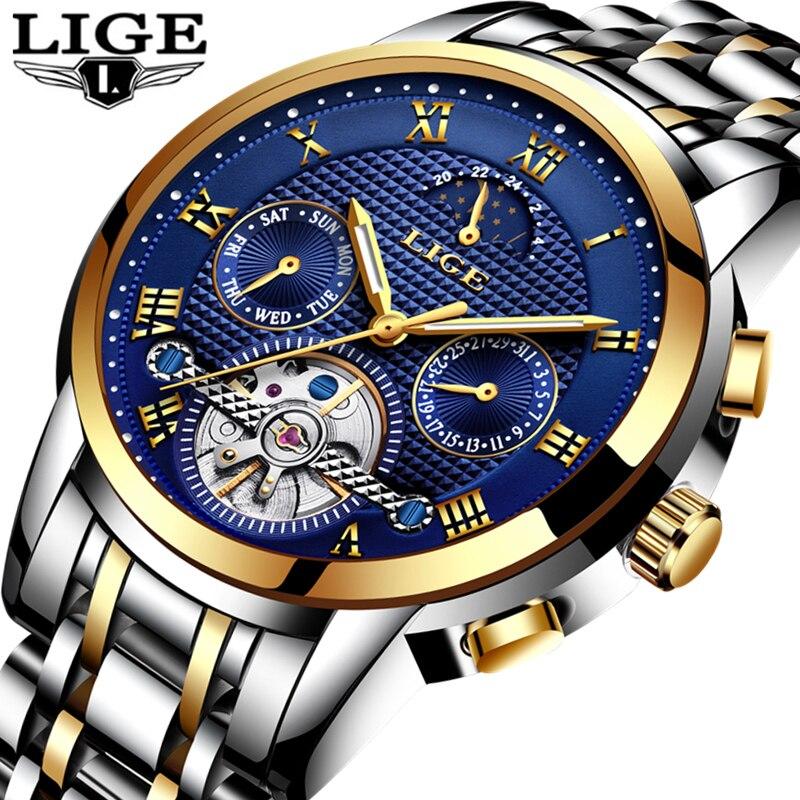 Relojes para hombre de lujo de marca LIGE, relojes mecánicos automáticos, relojes deportivos a prueba de agua de acero para hombre-in Relojes mecánicos from Relojes de pulsera    1