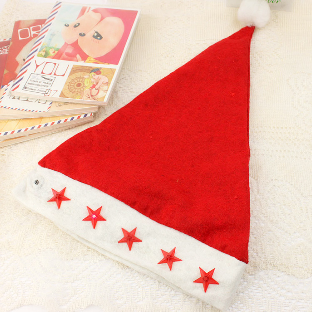 1 PC Nonwoven Red Five Star Light cap Santa Claus Easter Christmas Night Party Hat Cap Adult Size Christmas Santa Xmas Light Hat