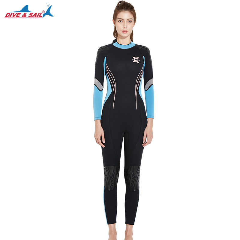 0a242ef59af ... 3MM Women Professional Scuba Neoprene One-Piece Full Body Diving Suits  Female Surfing Snorkeling Spearfishing ...