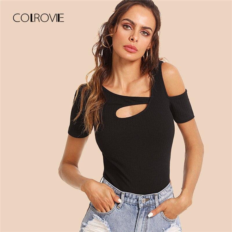 b7e0646c606 COLROVIE Burgundy recorte asimétrica cuello acanalado Top camisetas 2018  nuevo verano negro chaleco ropa elástica Casual mujeres camisas -  a.themartian.me
