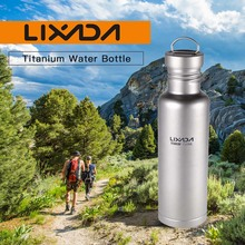 Lixada 500ml/750ml Outdoor Titanium Water Bottle Tableware Camping Hiking Cycling Sports with Extra Plastic Lid
