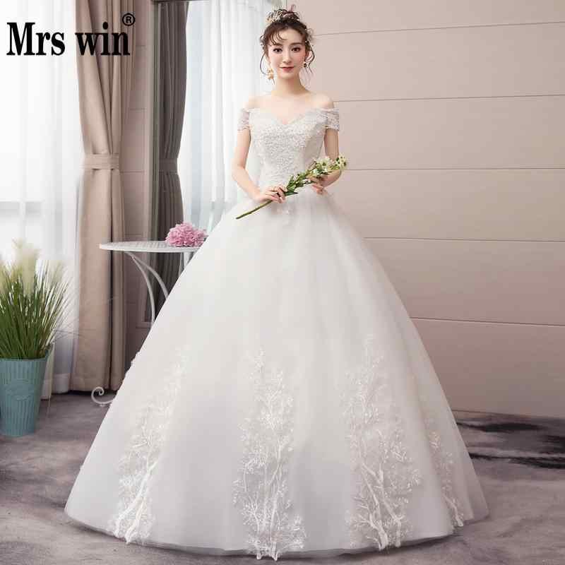 Abiti da sposa 2020 New Mrs Vincere Il Sexy V-Neck Lace Up Ball Gown Al Largo Della Spalla Principessa Elegante Vestido De noiva F