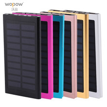 Wopow 20000mah Solar Power bank 2 USB Port LED External baterry 20000 mah PowerBank For Mobile Phone For Iphone xiaomi