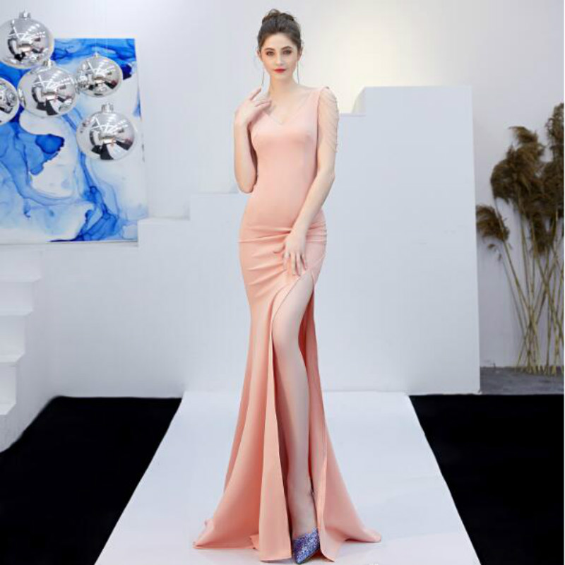 U-SWEAR 2019 New Arrival   Bridesmaid     Dress   V-neck Beading Backless Side Fork Mermaid/Trumpet Elegant Slim Sexy   Dress   Vestidos