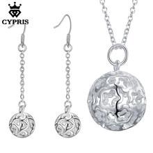6964c978087b Promoción plata joyería conjuntos collar pendientes bola 18 pulgadas  mujeres CYPRIS precio al por mayor nueva
