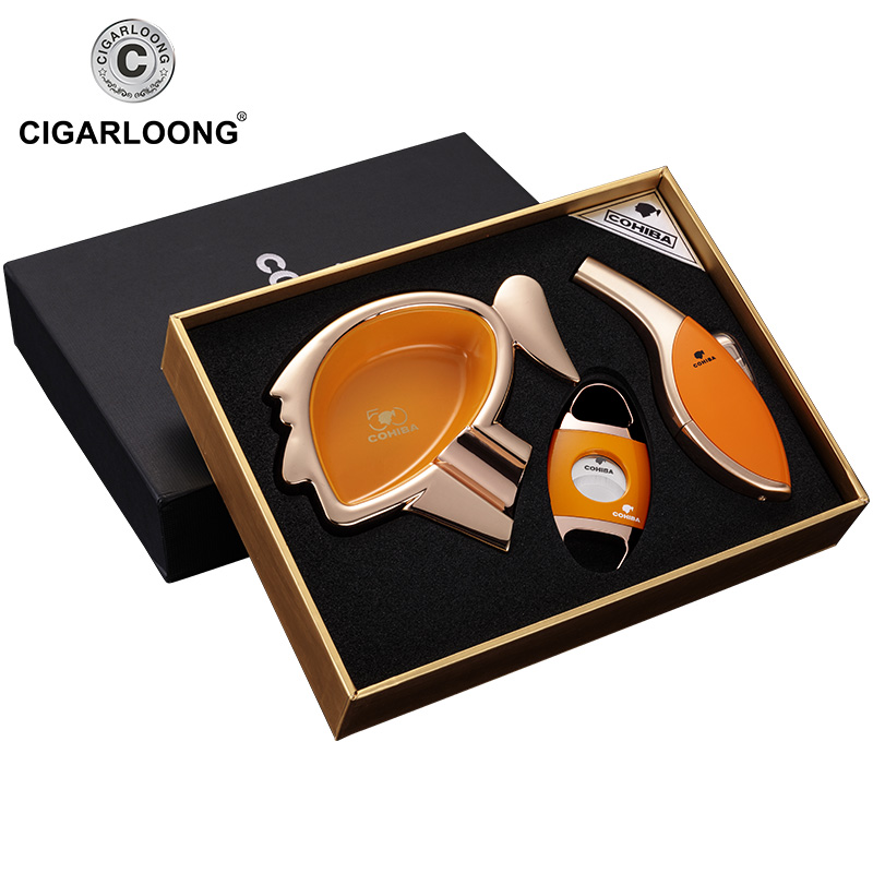 CIGARLOONG Cigar Ashtray Sets Large capacity ashtray with portable cigar cutter and cigar lighter Gift Package CQ 01 in Ashtrays from Home Garden