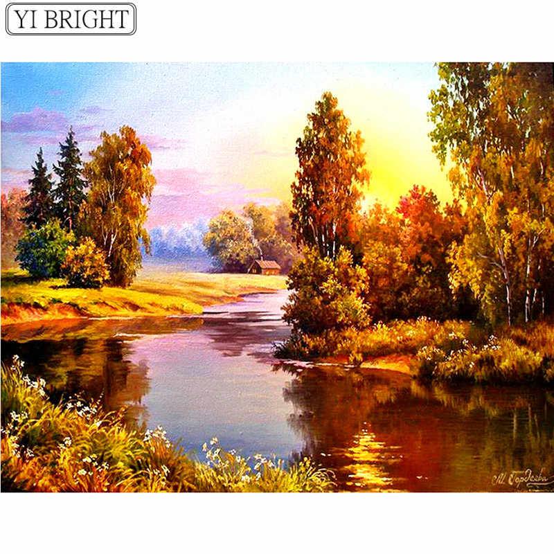 5D DIY יהלומי רקמת סתיו יער פנטזיה נוף יהלומי ציור צלב תפר תרגיל מלא ריינסטון פסיפס LK1