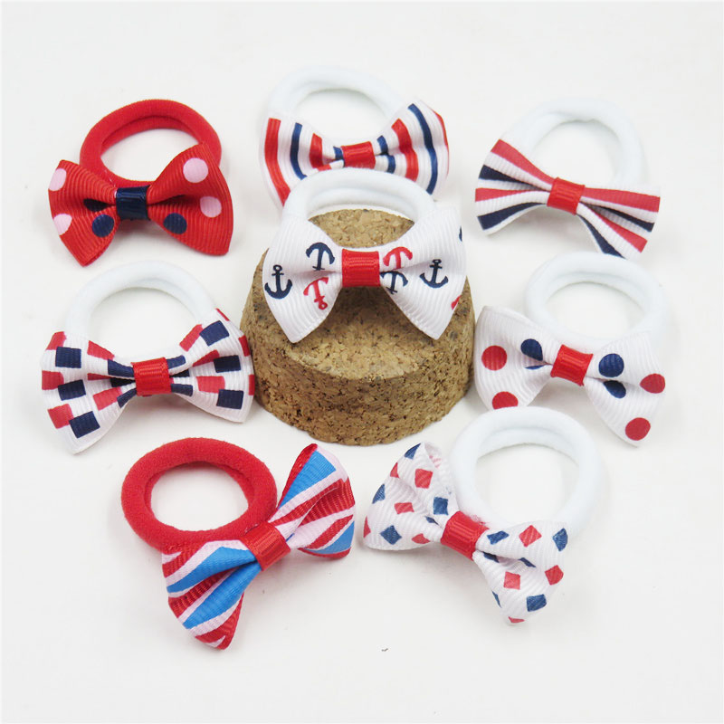 2PCS/LOT Candy Red White MIx Small Bow Hairpin For Girl Hair Tie Child Elastic Hair Bands Scrunchy Clip Hair Accessories For Kid