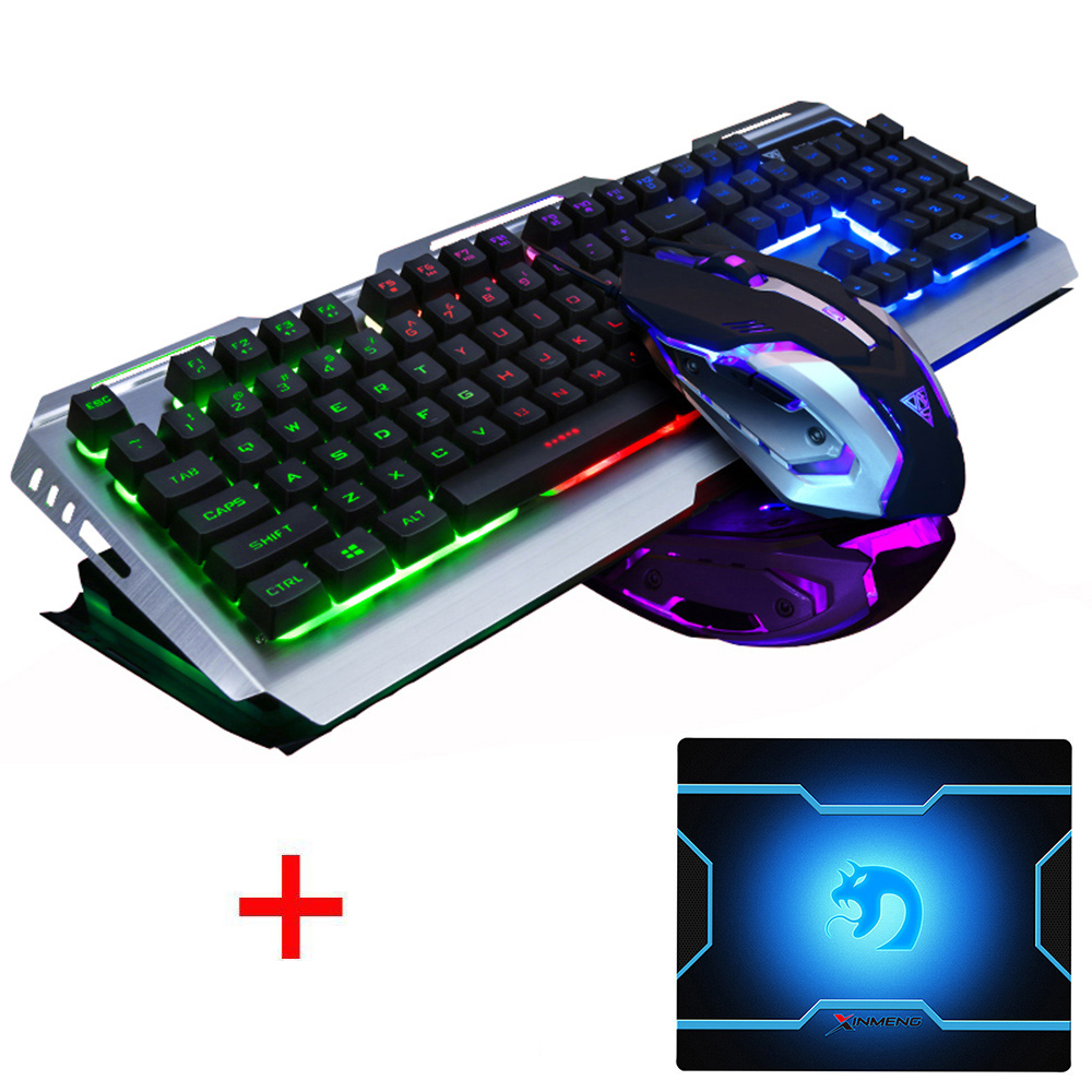 V1 Wired Rainbow Backlit illuminated Ergonomic Usb Gaming Keyboard Gamer + 3200DPI Optical Game Mouse Laptop Computer+ Mouse pad binmer keyboards m938 led backlit usb ergonomic gaming keyboard gamer mouse sets mouse pad td0110 dropship