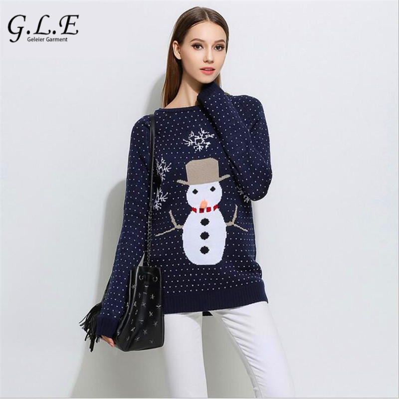 Geleier 2018 autumn and winter Casual Snowman Christmas womens sweater double-sided jacquard sweater women female