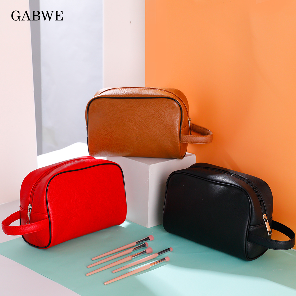 GABWE Women Makeup Bag Portable PU Leather Cosmetic Cases Beauty Toiletry Pouch Female Organizer Travel Bags Maquiagem Neceser