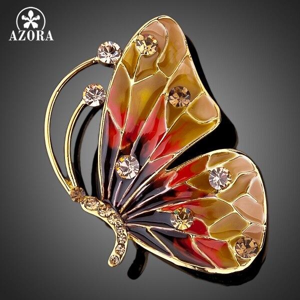 АЗОРА Позолоченные Stellux Розовый Австрийский хрусталь Многоцветной Бабочка Контактный Брошь TP0005