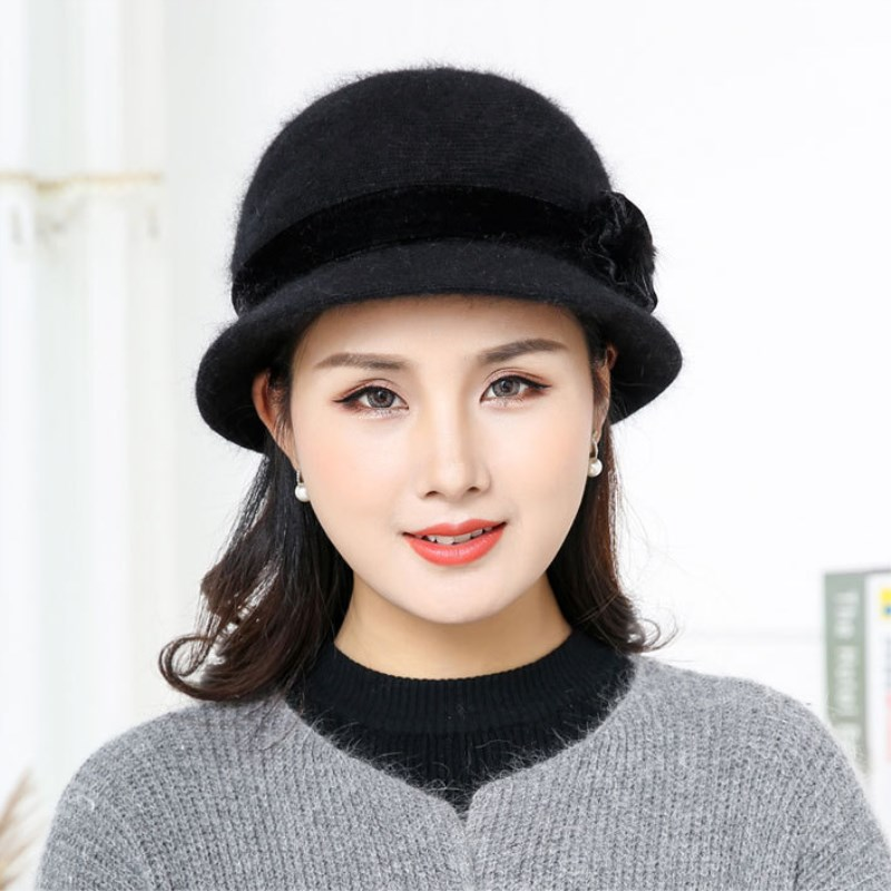 Hot Sell Winter Women Knitted Floral Skullies Super Soft Wool Mix Rabbit Fur Hat Warm Beanies Female Baggy Headwear Cap