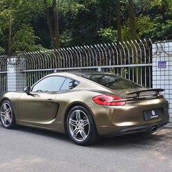 TSAUTOP dimensioni 1.52X18 m lucido lampo metallico oro marrone dell'involucro del vinile adesivi in vinile auto professionale stickerping