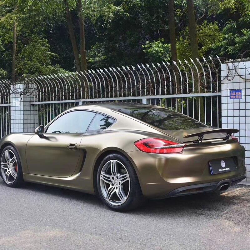 TSAUTOP taille 1.52X18 m brillant foudre métallique or brun vinyle wrap vinyle autocollants professionnel voiture stickerping