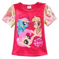 Kids Girls T-shirts 2016 New Arrival Floral Printed My Children Little Pony Short-sleeve Tops Cute Clothing  3-7 Years GT22