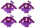 Púrpura de Manga Larga Body Jumpsuit Pettiskirt Púrpura Vestido Del Bebé de La Venda NB-18M MAJS0083