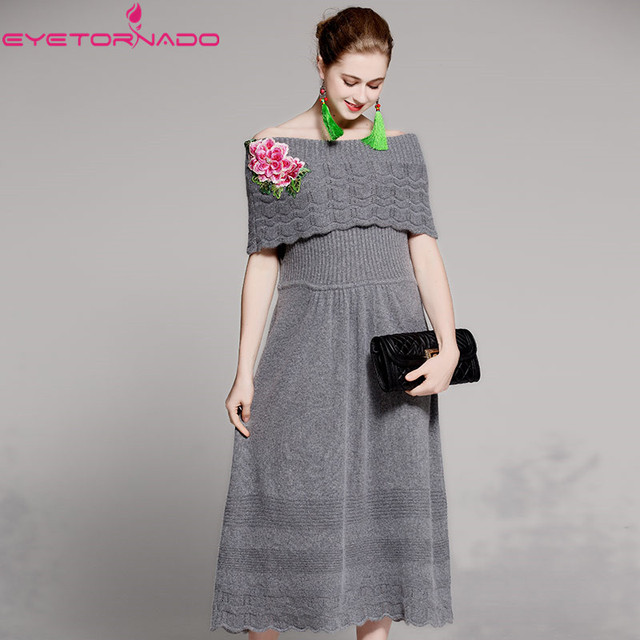 36e53ca579d Vintage flower embroidery beadings slash neck sexy bodycon knitted sweater  dress women winter casual work party