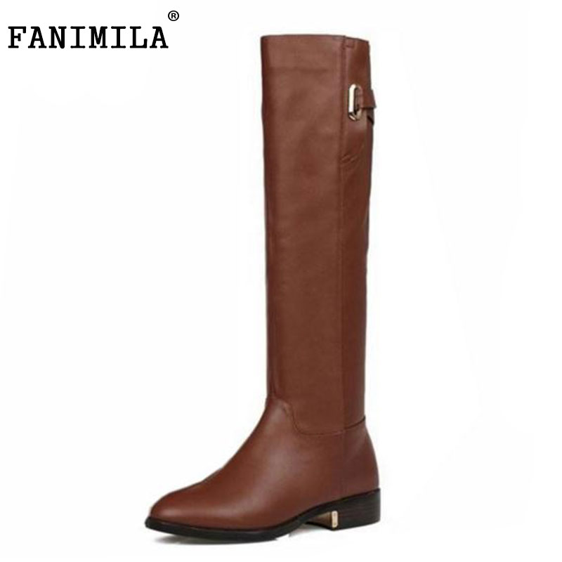 Size 35-43 Winter Warm Over Knee Fur Buckle Brand Qaulity Real Leather Boots Lady Women Fashion Snow Shoes Footwear Boots R1494