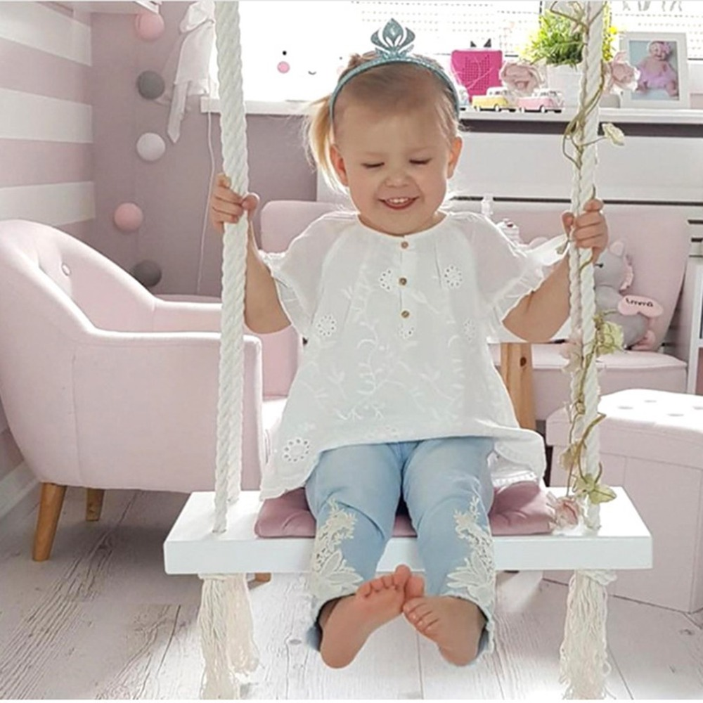 INS Home Baby Swing Chair Hanging Swing Indoor Kids Hanger Children Toy Wood Seat with Cushion Safety Baby Spullen Room Decor