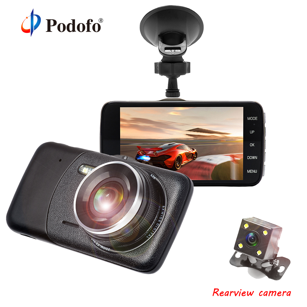 цена на Original Podofo 4 DVRs Dual Lens Car DVR Camera 1080P Full HD Video Registrator Recorder With Rear View Camera G-Sensor Dashcam