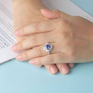 Image 5 - Kuololit Classic Tanzanite Ring Solid 925 Sterling Silver Rings For Women Brand Fine Jewelry Engagement Women Gift
