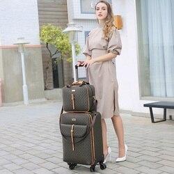 Internationalen mode luxus 16/20/24 inch handtasche + Roll Gepäck Spinner marke Frau reise Koffer