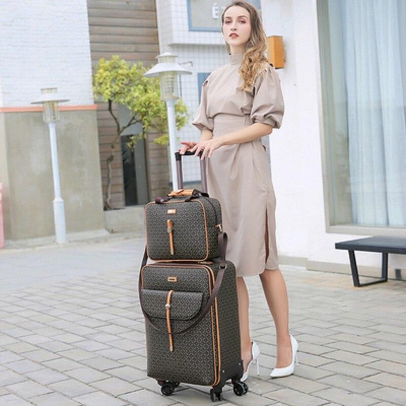 Bagaj ve Çantalar'ten Tekerlekli Bagaj'de Uluslararası moda lüks 16/20/24 inç çanta + haddeleme bagaj Spinner marka kadın seyahat bavul'da  Grup 1