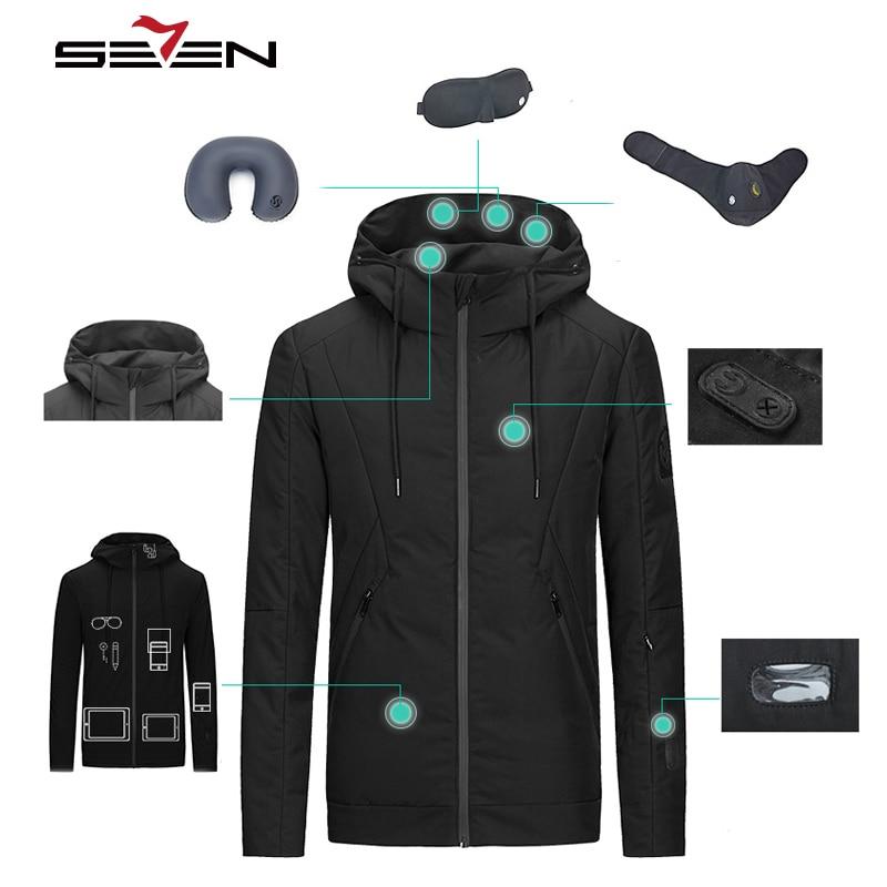 Seven7 Mens Travel Jacket Hooded Winter Warm Down Duck Smart Jacket Slim Fit Casual 8 Features Waterproof Pockets Coat 113K20430