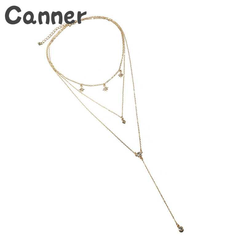 Canner Bohemian Star ยาวสร้อยคอ Multilayer คริสตัลจี้สร้อยคอผู้หญิง Collier Femme 2019 สร้อยคอของขวัญ A40
